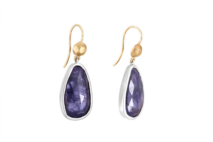 Iolite, 9ct Yellow Gold and Silver Drop Earrings