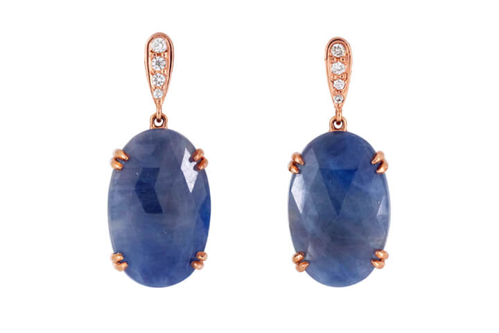 Sapphire, Diamond, 9ct Rose Gold and Silver Drop Earrings