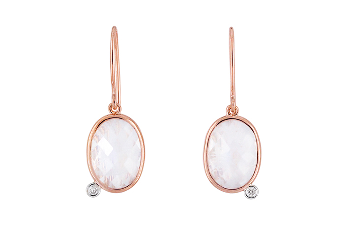 Moonstone and Diamond 9ct Rose Gold Earrings