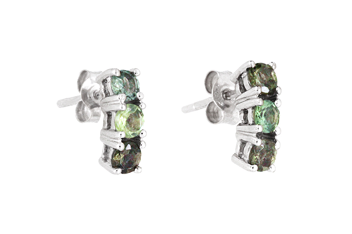 Green Sapphire and Tourmaline 18ct White Gold Earrings