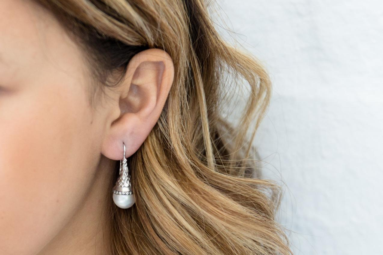 Pearl & Diamond Drop Earrings with Carved Organic Leaf Detail 9ct White Gold