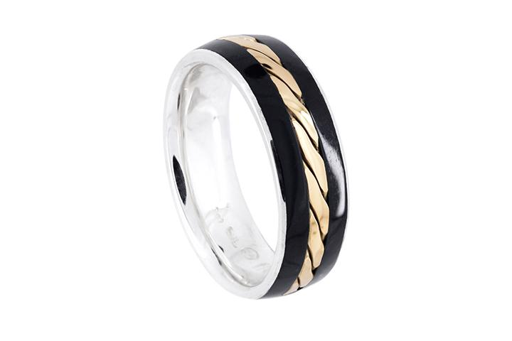 Silver with 9ct Yellow Gold and Black Inlay