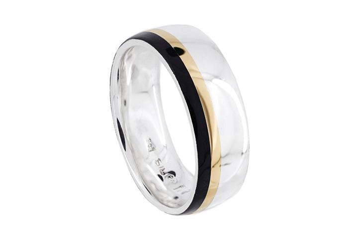 Silver Triple Banded Gents Ring with 9ct Rose Gold and Black Inlays