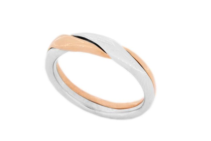 9ct Rose gold and Silver 2 piece puzzle ring