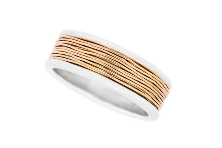 Silver & Rose gold wire detail ring