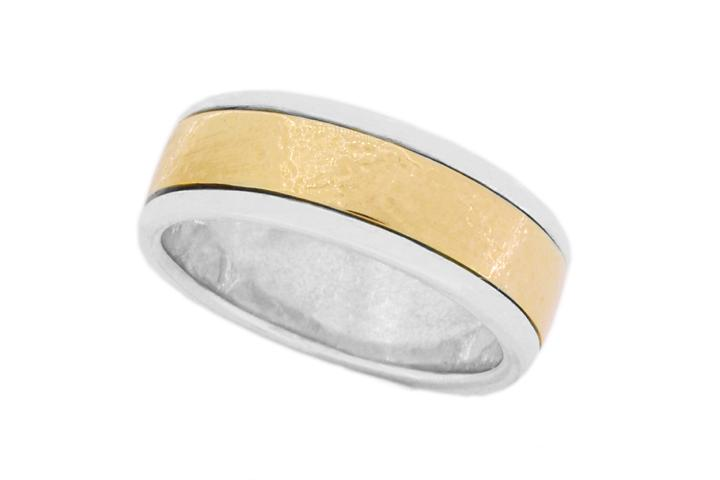 9ct Yellow gold and Silver flat hammered texture ring