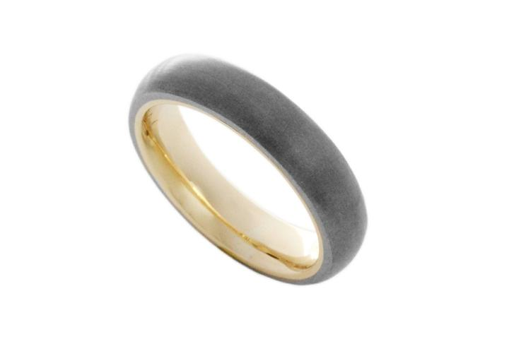 Titanium & 9ct Yellow Gold D-shaped Ring