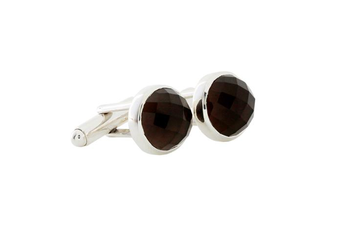 Silver Cufflinks with Smoky Quartz