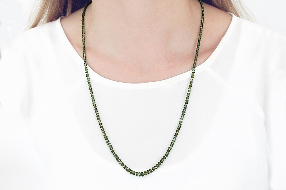 Faceted Green Sapphire Necklace with 18ct gold detail & clasp