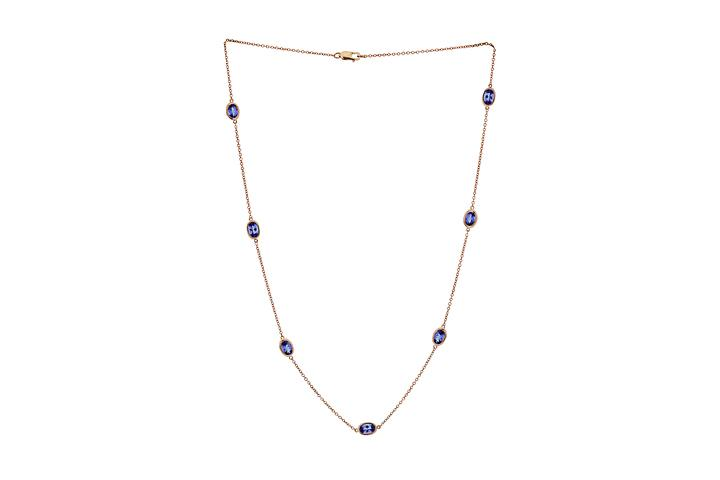 Tanzanite Rose Gold Mitzvah necklace