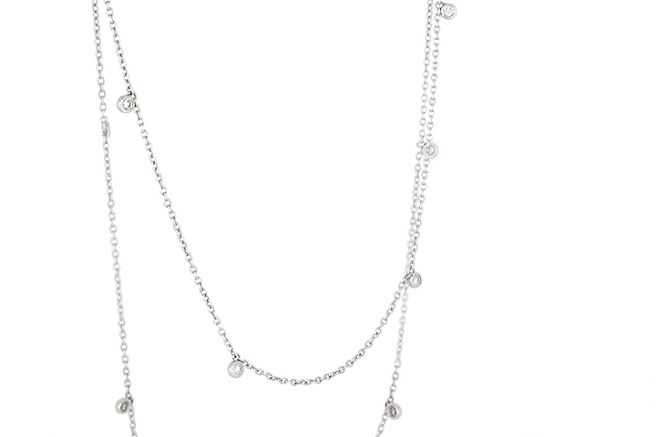 Diamond Rain Drop Necklace in 9ct White Gold