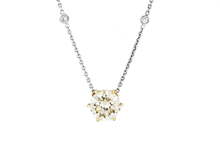 Yellow Diamond 18ct Gold Pendant on Diamond Studded 18ct Gold Chain