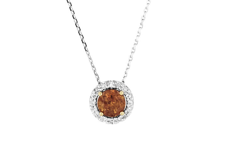 Natural Colour Brown-Orange Diamond in 18ct Gold Halo Pendant