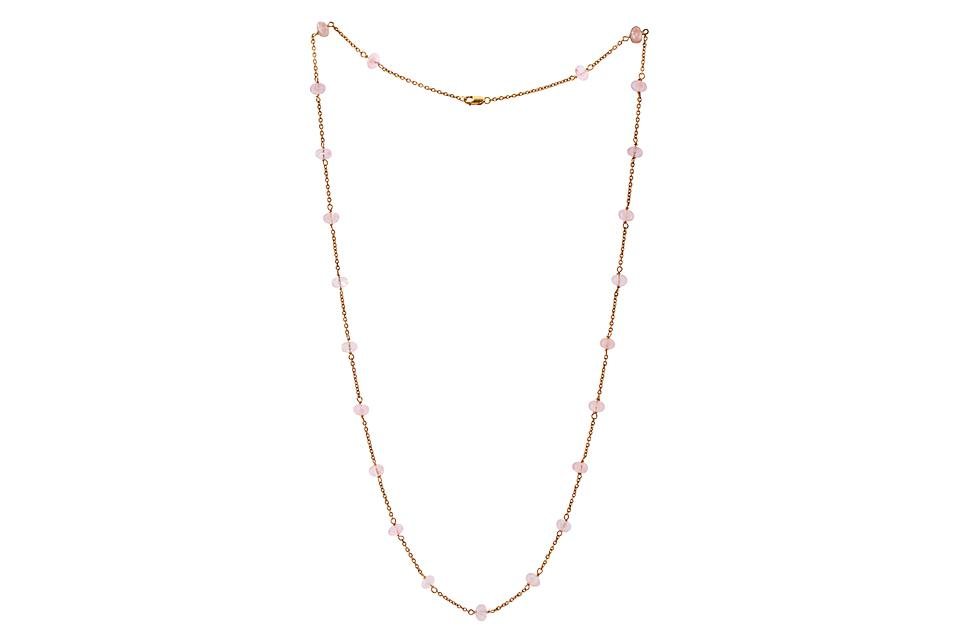 Rose Gold Morganite bead Necklace