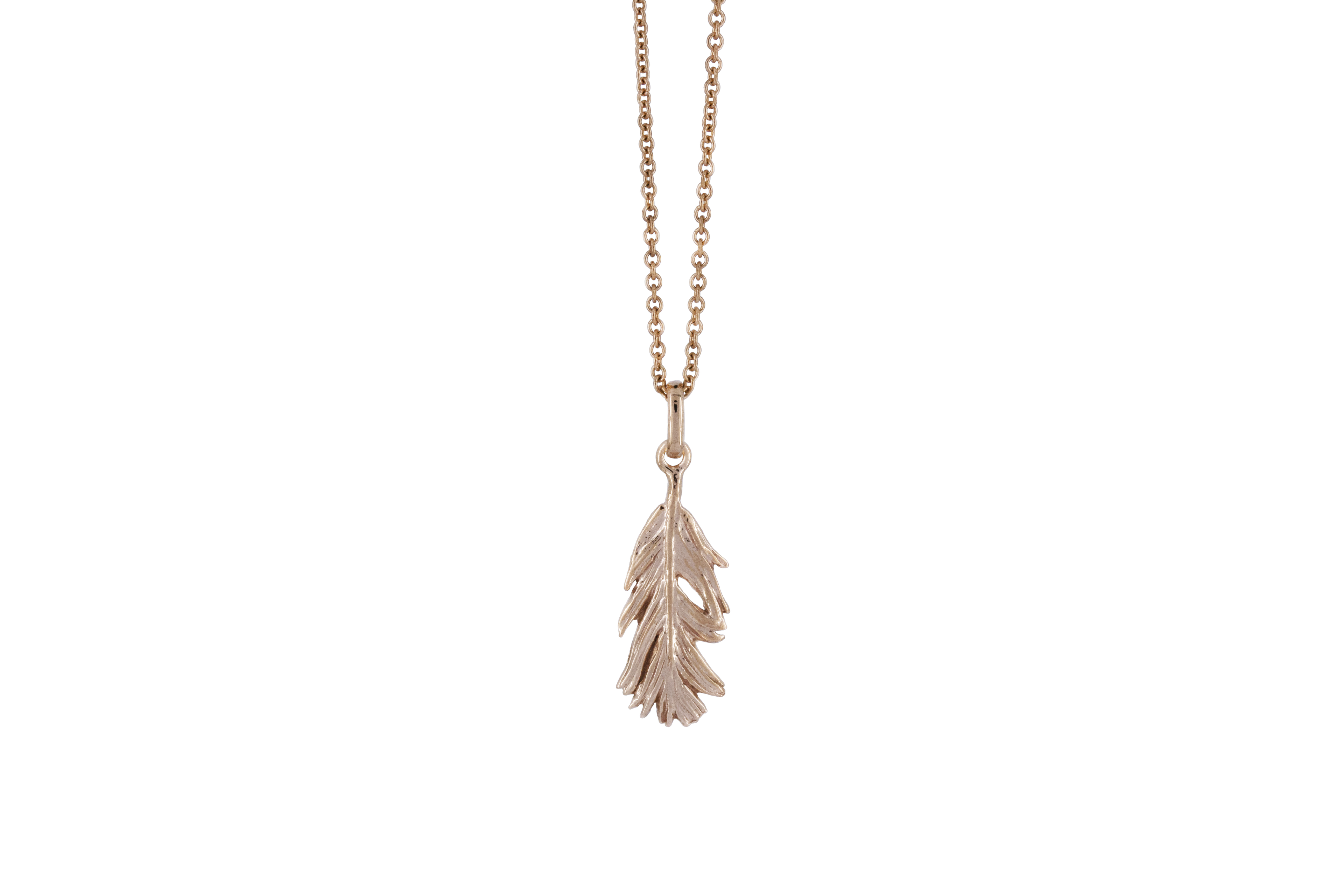 Short feather pendant in 9ct Rose Gold