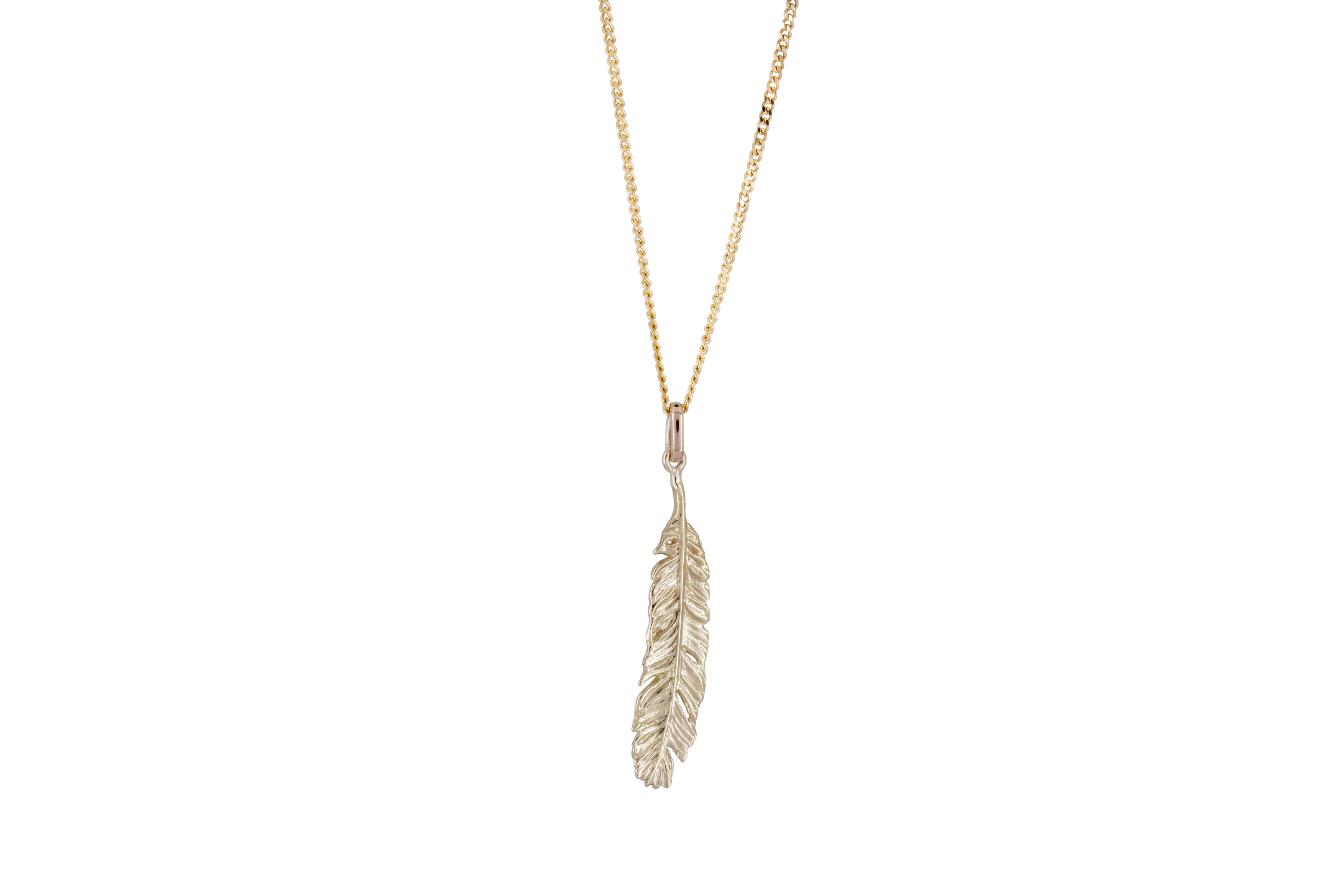 Long feather in 9ct Yellow Gold