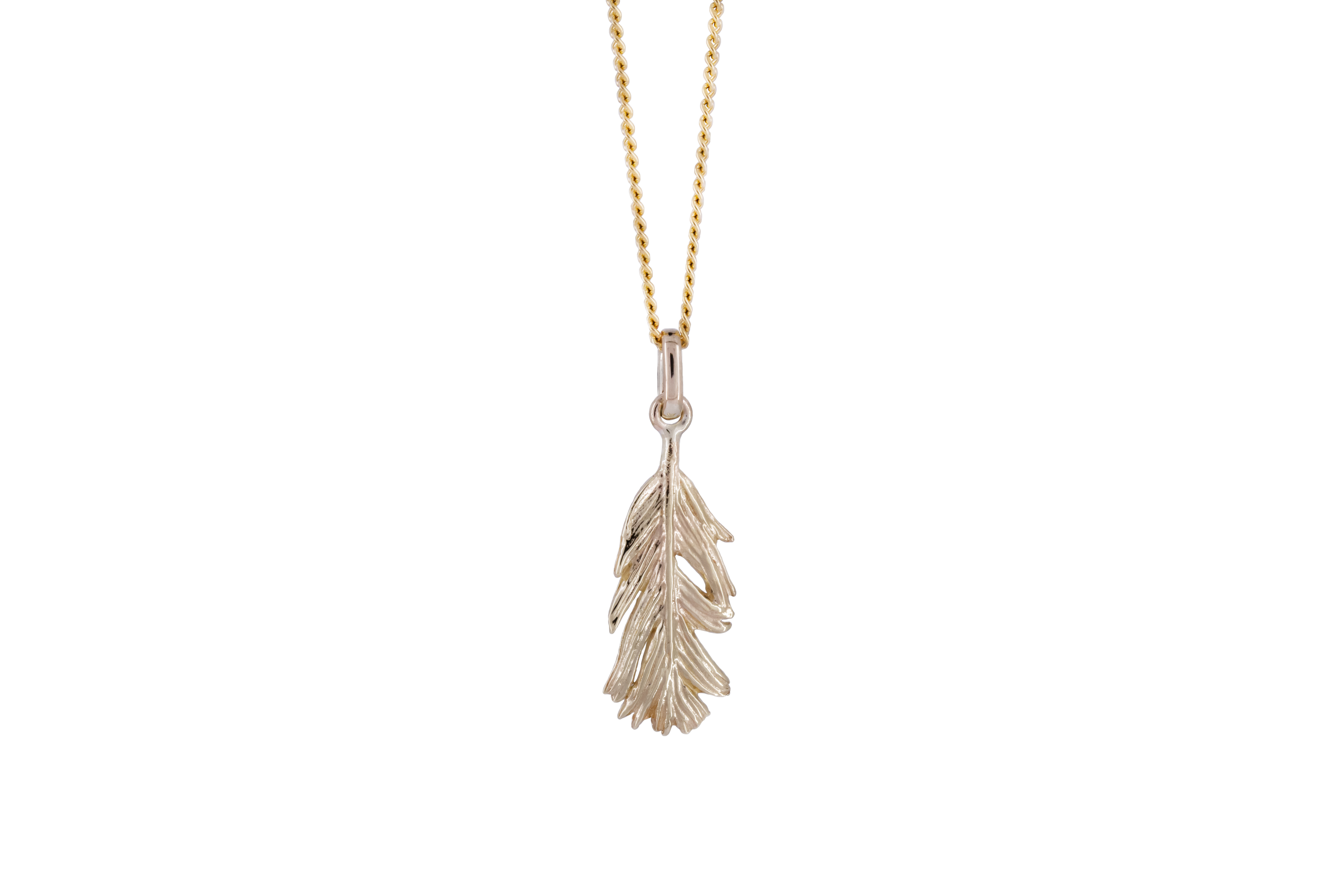 Short feather pendant in 9ct Yellow Gold
