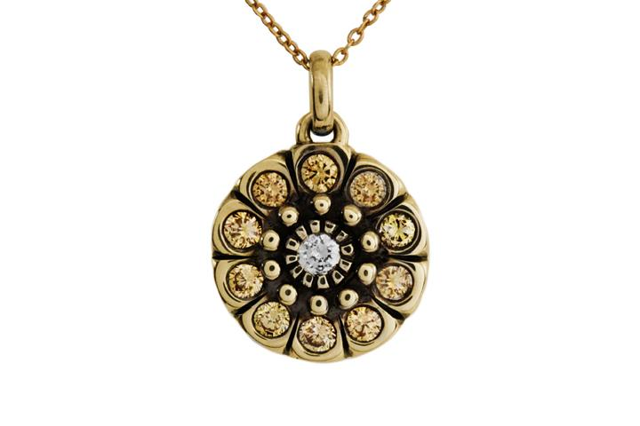 9ct Yellow Gold Snowflake Pendant with Fancy Yellow and White Diamonds