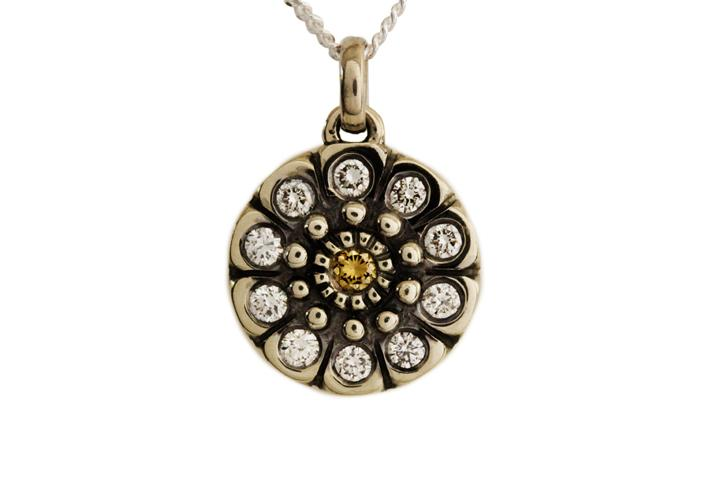 9ct White Gold Snowflake Pendant with Cognac and White Diamonds