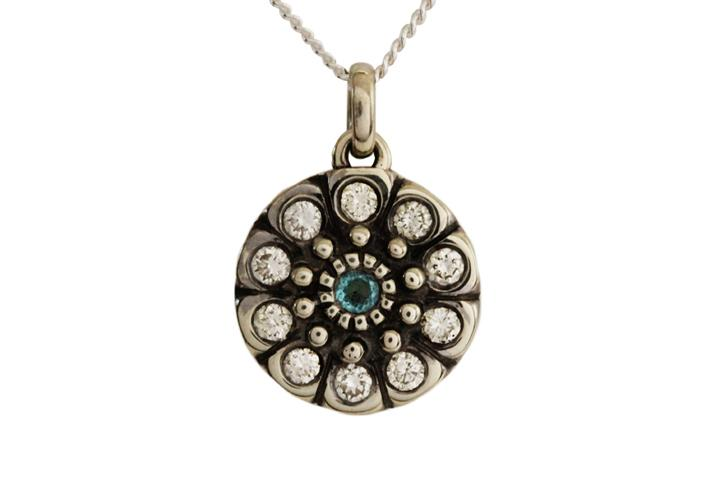 9ct White Gold Snowflake Pendant with White Diamonds and Blue Topaz