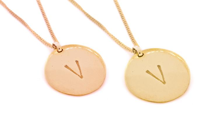 Yellow OR Rose Gold Gilded Silver Disc (large)