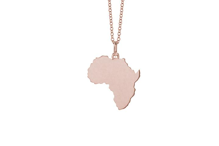 9ct Rose gold solid Africa pendant (sml)
