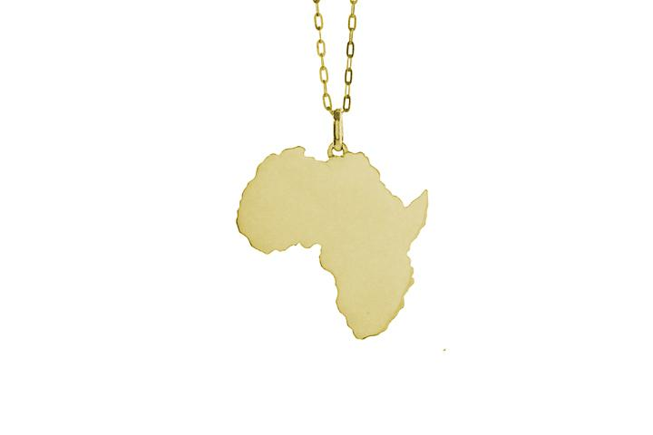 Africa Pendant in 9ct Yellow Gold (lrg)
