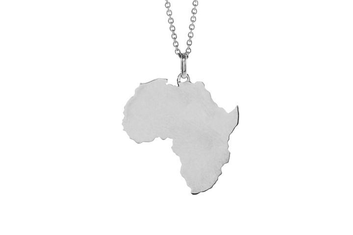 Silver solid Africa pendant (lrg)