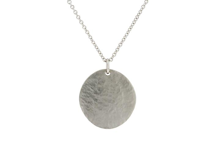 9ct White Gold Textured Disc