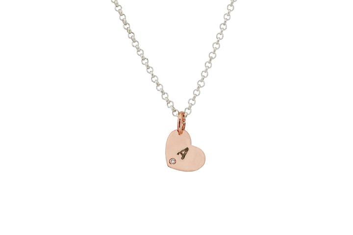 9ct Rose Gold Personalised Diamond Heart Pendant