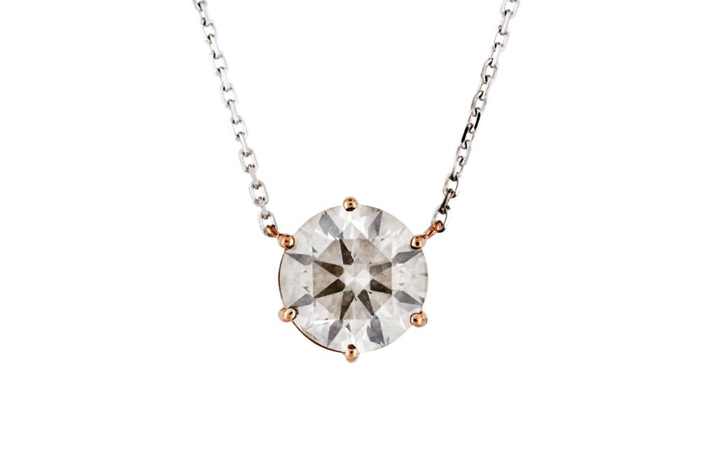 Diamond Pendant in 18ct Rose Gold Setting, on 18ct White Gold Chain
