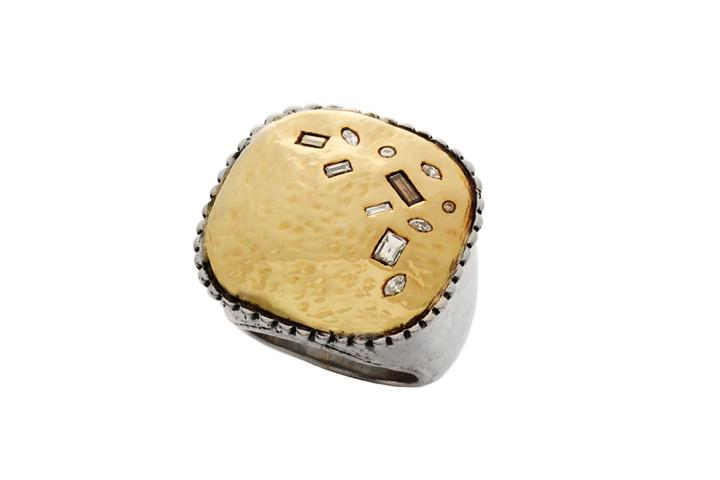 18ct Yellow gold & Silver Diamond beaten square top ring