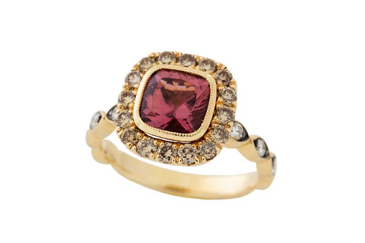 18ct Rose Gold, Pink Tourmaline and Diamond Vintage Ring