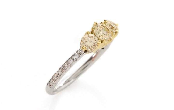 18ct Yellow and White Gold Trilogy Ring with Yellow and White Diamonds