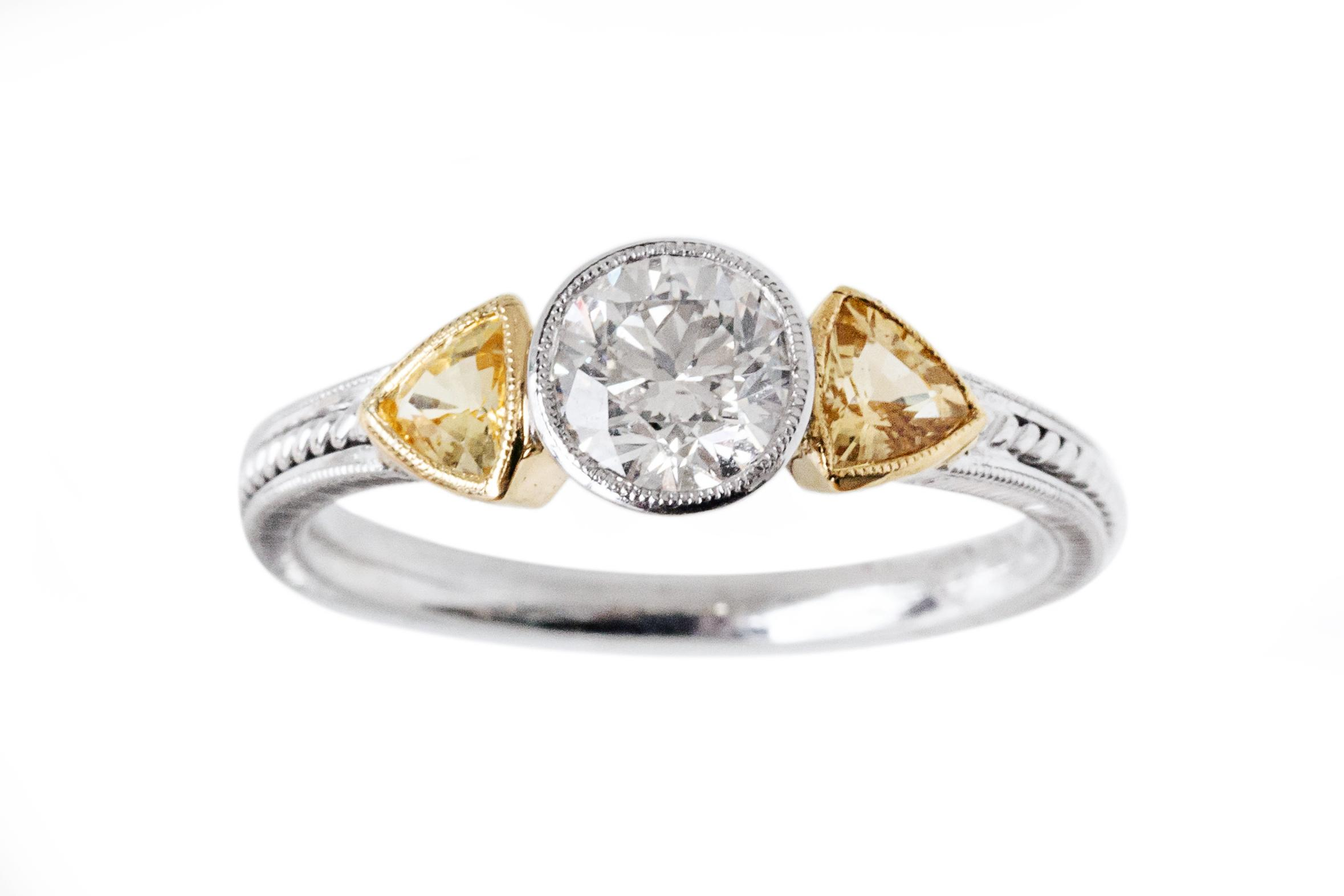 18ct White and Yellow Gold, Diamond and Yellow Sapphire Ring