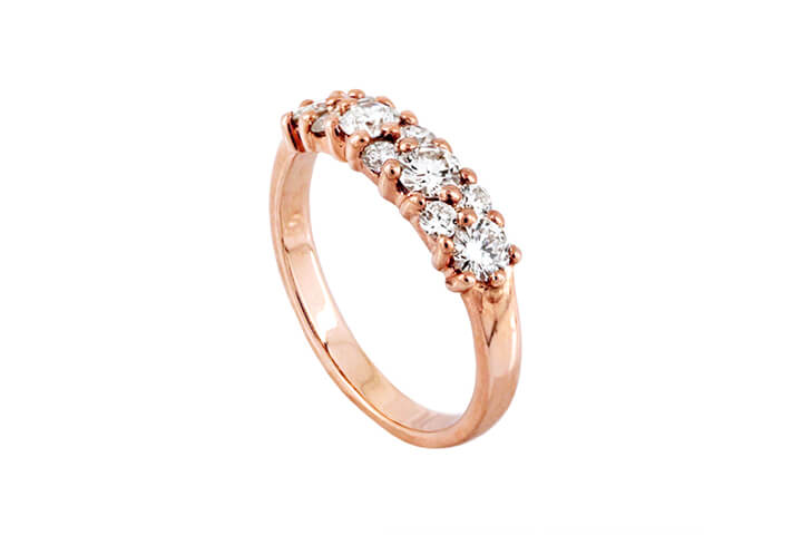 9ct Rose Gold and Diamond Cluster-style Eternity Ring
