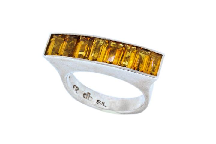 Silver Citrine Flair Ring