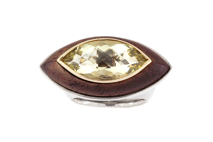 Lemon Quartz and African Blackwood, Silver and 9ct Yellow Gold Ring