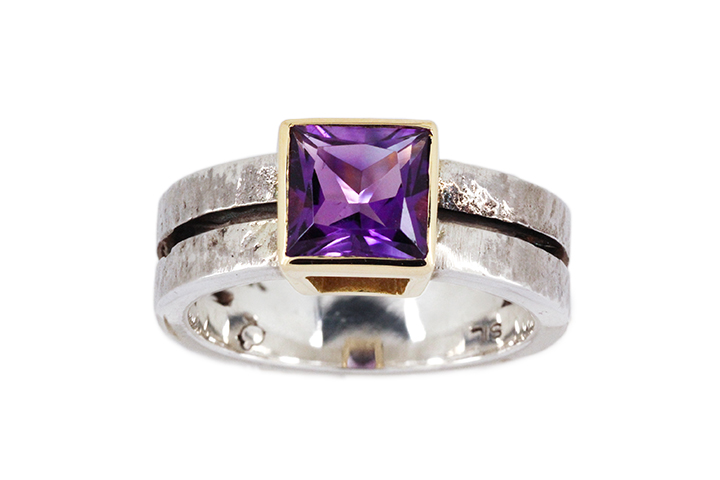 Amethyst, 18ct Yellow Gold and Silver Ring