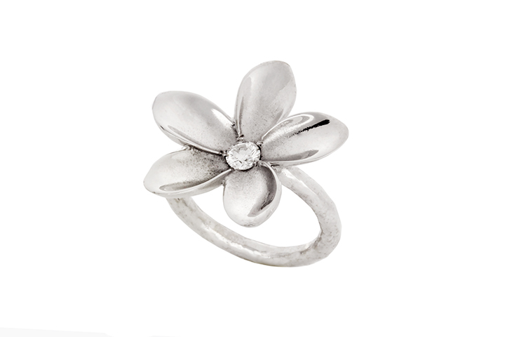 Diamond Frangipani Single Flower Ring in 9ct White Gold