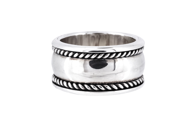 Silver Oxidised Double Twist Dome Ring