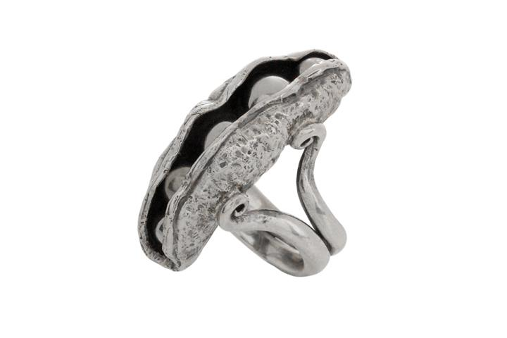 Silver Peas-in-the-Pod Ring with Stainless Steel Beads