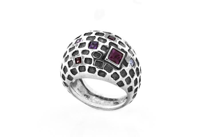 Silver Honeycomb Ring, with Citrine, Garnet and Rhodolite Garnet - 50% OFF!