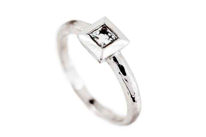 White Gold & Aquamarine Ring - 50% OFF!