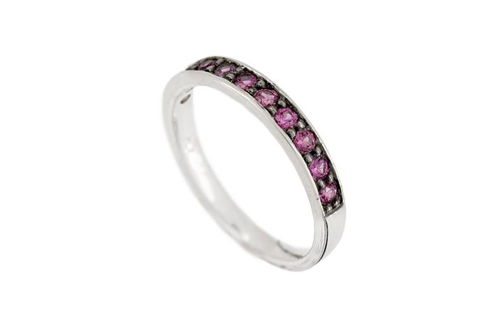 White Gold & Pink Sapphire Half Eternity Ring