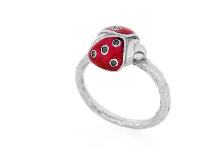 Silver Ladybug Ring with Black Diamonds and Red Enamel