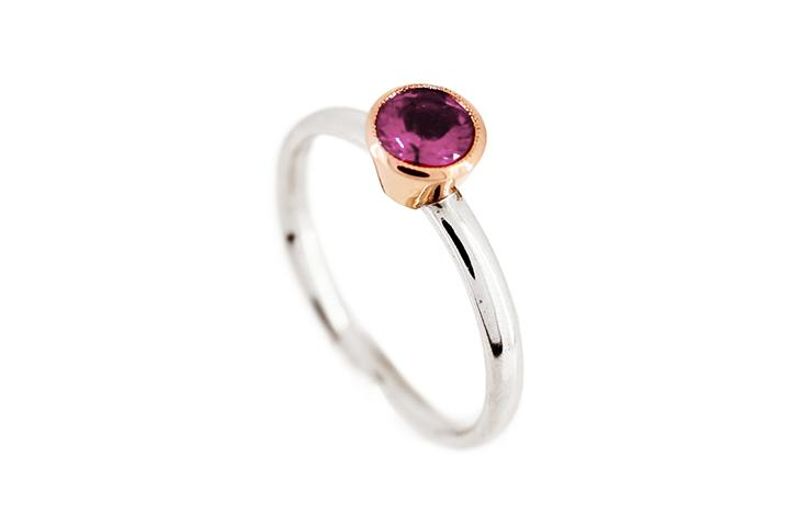 Pink Tourmaline (dark) Rose Gold & Silver Stacking Ring