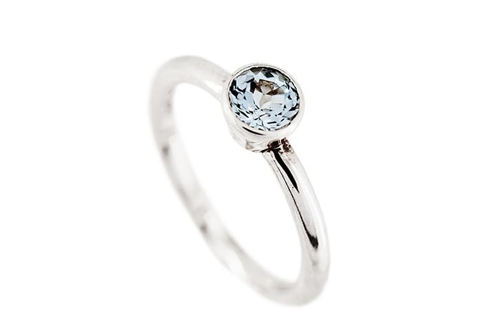 Blue Topaz (Sky) Silver Stacking Ring