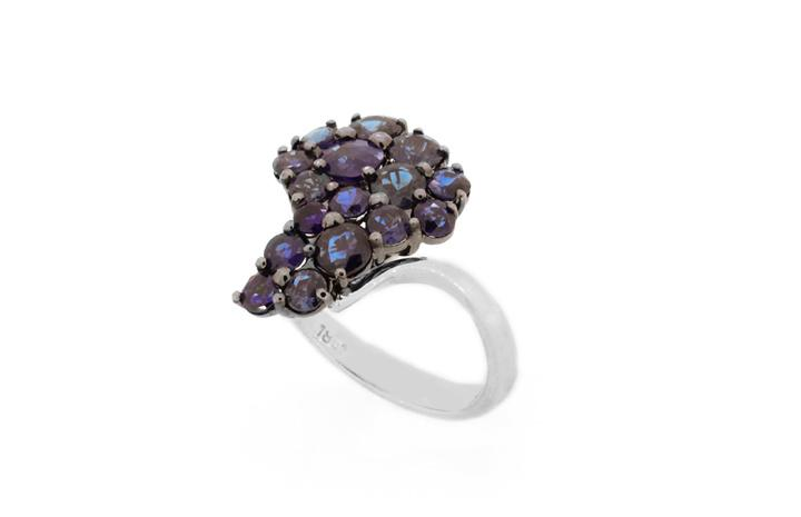 Blue Sapphire Africa cluster ring, HANDMADE in 18ct White Gold