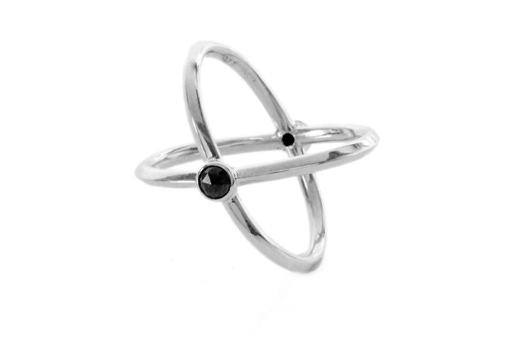 9ct White Gold and Black Rose Cut Diamond Orbit Ring
